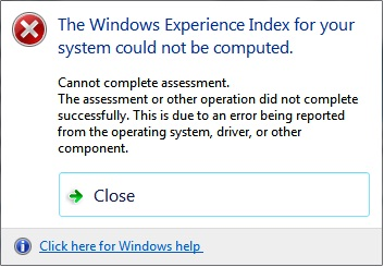 The windows experience index.